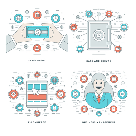 investment security: Flat line Investment, Security, E-commerce, Management Business Concepts Set Vector illustrations. Modern thin linear stroke vector icons. Website Header Graphics, Banner, Infographics Design, Promotional Materials. Illustration