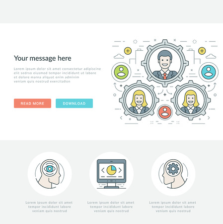 page site: Flat line Business Concept Web Site Header Vector illustration. Modern thin linear stroke vector icons. For website graphics, Mobile Apps, Web Page Layout design. Vector Icons.