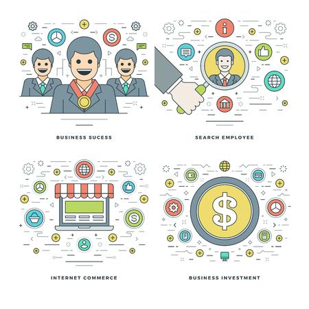 elemento: linea piatta ricerca dei dipendenti, il commercio su Internet, gli investimenti, il successo Concetto di Business Set Vector illustrazioni. I moderni sottili corsa lineare icone vettoriali. Sito intestazione grafica, bandiera, Infografica.