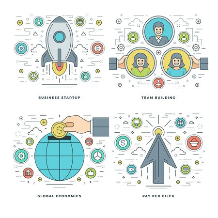 success business: Flat line Start up, Team Building, Global Economics, Business Success Concepts Set Vector illustrations. Modern thin linear stroke vector icons. Website Header Graphics, Banner, Infographics.