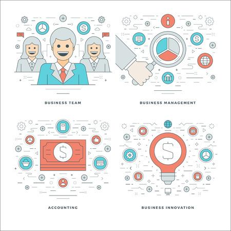 플랫 라인 관리, 재무 회계, 혁신, 비즈니스 팀 개념 벡터 일러스트를 설정합니다. 현대 얇은 선형 스트로크 벡터 아이콘입니다. 웹 사이트 헤더 그래픽, 배너, Infographics. 벡터 (일러스트)