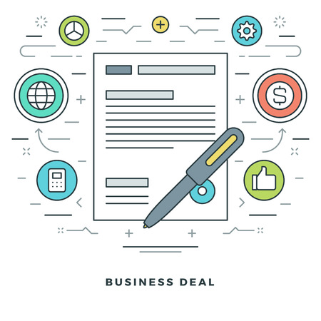 business deal: Flat line Business Deal Concept Vector illustration. Modern thin linear stroke vector icons. Website Header Graphics, Banner, Infographics Design, Promotional Materials. Vector Icons.