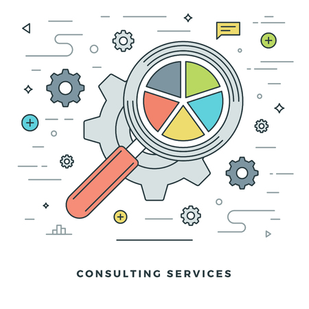 website header: Flat line Consulting Services Concept Vector illustration. Modern thin linear stroke vector icons. Website Header Graphics, Banner, Infographics Design, Promotional Materials. Vector Icons.