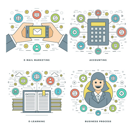 website header: Flat line Accounting, E-learning, E-mail Marketing, Business Process Concepts Set Vector illustrations. Modern thin linear stroke vector icons. Website Header Graphics, Banner, Infographics.