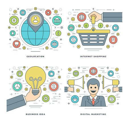 Flat line Location, Internet Shopping, Digital Marketing, Business Idea Concepts Set Vector illustrations. Modern thin linear stroke vector icons. Website Header Graphics, Banner, Infographics.