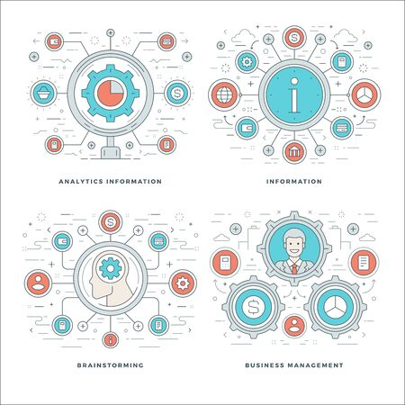 information management: Flat line Analytics Information, Brainstorming, Business Team Management Concepts Set Vector illustrations. Modern thin linear stroke vector icons. Website Header Graphics, Banner, Infographics. Illustration