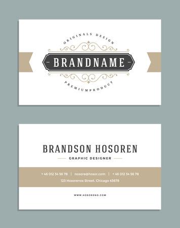 Vintage Ornament Business Card Vector Template. Retro Luxury Logo, Royal Design. Flourishes frame. Vintage Background, Vintage Frame, Vintage Ornament, Ornaments Vector, Ornamental Frame.  イラスト・ベクター素材