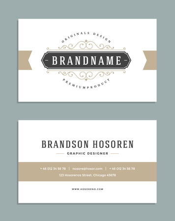 Vintage Ornament Business Card Vector Template. Retro Luxury Logo, Royal Design. Flourishes frame. Vintage Background, Vintage Frame, Vintage Ornament, Ornaments Vector, Ornamental Frame. Ilustrace