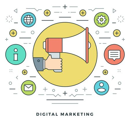 modernization: Flat line Business Concept Innovation Creative Idea. Vector illustration. Modern thin linear stroke vector icons. Website Graphics, Banner, Infographics Design, Promotional Materials. Illustration