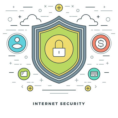 internet security: Flat line Business Concept Internet Security. Vector illustration. Modern thin linear stroke vector icons. Website Graphics, Banner, Infographics Design, Promotional Materials.