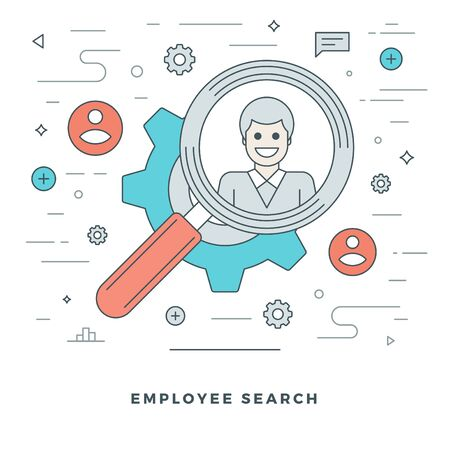 office worker: Flat line Business Team Employee Search. Vector illustration. Modern thin linear stroke vector icons. Website Graphics, Banner, Infographics Design, Promotional Materials. Illustration