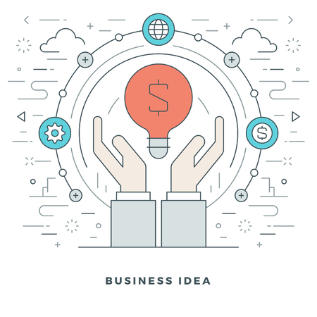 idea lamp: Flat line Business Creative Idea Hands and Lamp. Vector illustration. Modern thin linear stroke vector icons. Website Graphics, Banner, Infographics Design, Promotional Materials. Illustration