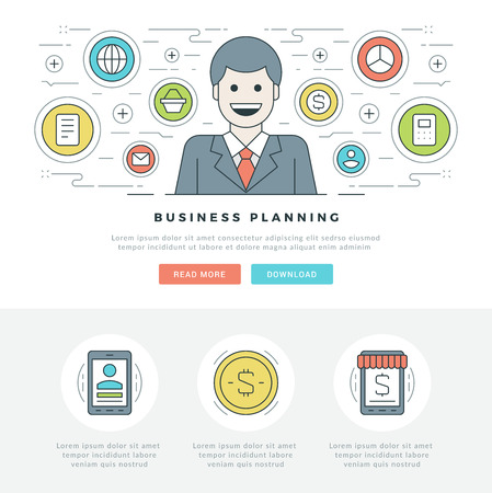 page site: Flat line Business Concept Web Site Header Vector illustration. Modern thin linear stroke vector icons. For website graphics, Mobile Apps, Web Page Layout design. Illustration
