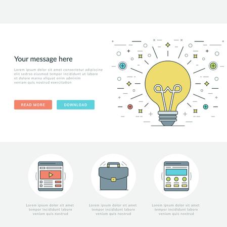 Flache Linie Business-Konzept Web-Site-Header Vektor-Illustration. Moderne dünne linearen Hub Vektor-Icons. Für Website-Grafiken, mobile Apps, Web Seiten-Layout-Design. Vektorgrafik