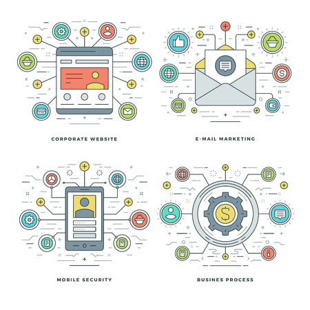 business security: Flat line E-mail Marketing, Mobile Security, Business Process Concepts Set Vector illustrations. Modern thin linear stroke vector icons. Website Header Graphics, Banner, Infographics.