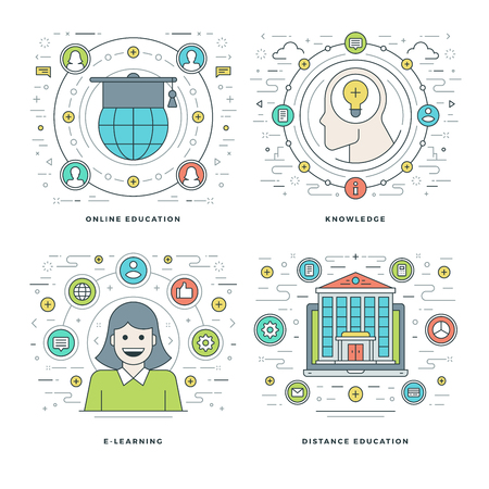website header: Flat line Online Education, Knowledge, E-learning Concepts Set Vector illustrations. Modern thin linear stroke vector icons. Website Header Graphics, Banner, Infographics. Illustration