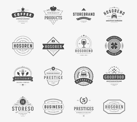 crown logo: Vintage Logos Design Templates Set.