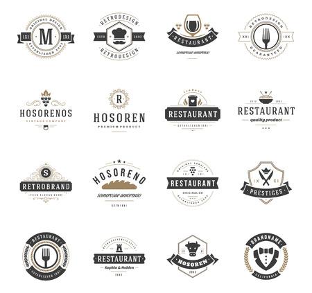 ビンテージのレストランのロゴはデザイン テンプレート セットです。ファーストフード、レストラン、カフェのアイコン デザイン要素をベクトル