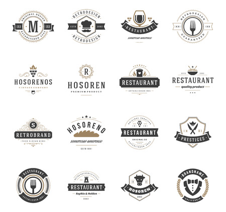 Vintage Restaurant Logos ontwerp sjablonen Set. Vector design elementen, pictogrammen Restaurant and Cafe, Fastfood.