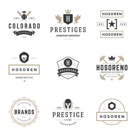 head tag: Vintage Logos Design Templates Set.
