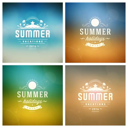 Verano retro del vector conjunto de la tipografía. Verano Vacaciones de mensajes e ilustraciones para tarjetas de felicitación, carteles partido o Fondos Folletos diseño del vector. Paisaje y cielo borrosa con Sun telones de fondo.