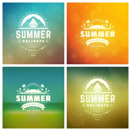 Summer Vector Retro Typography Set. Summer holidays messages and Illustrations for Greeting Cards, Party Posters or Flyers Design Vector Backgrounds. Blurred Landscape and Sky with Sun Backdrops.