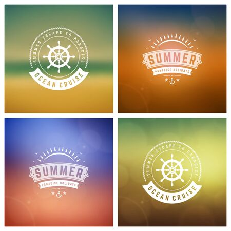 retro party: Summer Vector Retro Typography Set. Summer holidays messages and Illustrations for Greeting Cards, Party Posters or Flyers Design Vector Backgrounds. Blurred Landscape and Sky with Sun Backdrops.