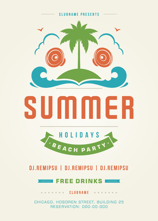 event party: Retro Summer Holidays Beach Party Poster or Flyer Design Template. Night Club Event Retro Typography on Background Vector illustration. Illustration