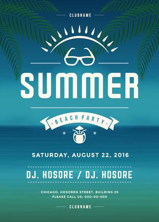 Cartaz retro do partido da praia das férias de verão ou molde do projeto do inseto. Tipografia retro do evento do clube noturno na ilustração do vetor do fundo.