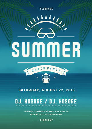Retro Summer Holidays Beach Party Poster or Flyer Design Template. Night Club Event Retro Typography on Background Vector illustration. Vectores