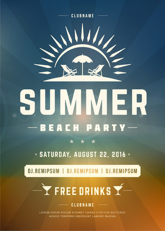night background: Retro Summer Holidays Beach Party Poster or Flyer Design Template. Night Club Event Retro Typography on Background Vector illustration. Illustration