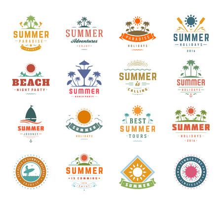 Summer Holidays Design Elements and Typography Set. Retro and Vintage Templates Labels or Badges Good for Posters, Beach Party, Greeting Cards. Vector Illustrations and Objects. Tropical paradise.