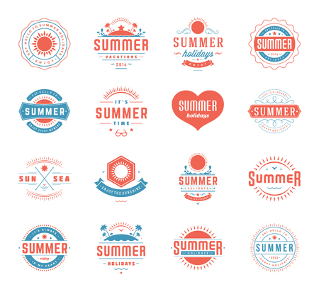 island paradise: Summer Holidays Design Elements and Typography Set. Retro and Vintage Templates Labels or Badges Good for Posters, Beach Party, Greeting Cards. Vector Illustrations and Objects. Tropical paradise.
