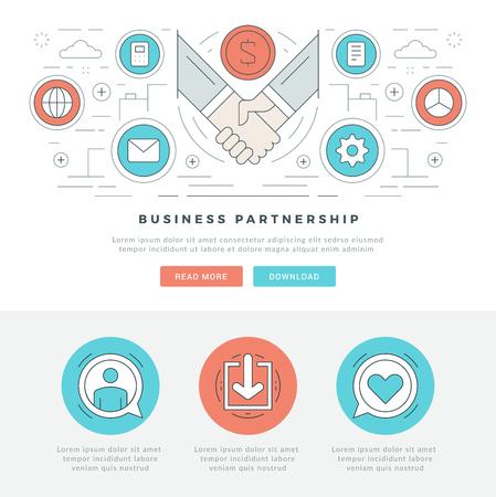 Płaska linia Business Concept Web Site ilustracja Vector nagłówka. Nowoczesne cienkie liniowy stroke ikon wektorowych. Dla grafiki www, aplikacje mobilne, Web design Układ strony. Ikony wektorowe