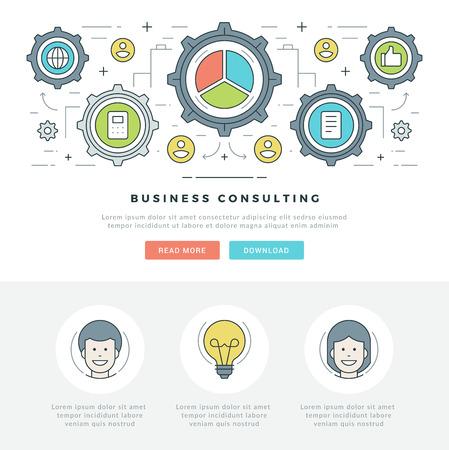 Flache Linie Business-Konzept Web-Site-Header Vektor-Illustration. Moderne dünne linearen Hub Vektor-Icons. Für Website-Grafiken, mobile Apps, Web Seiten-Layout-Design. Vektor-Icons
