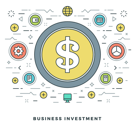 transfer: Flat line Business Concept Vector illustration. Modern thin linear stroke vector icons. Website Graphics, Banner, Infographics Design, Promotional Materials.