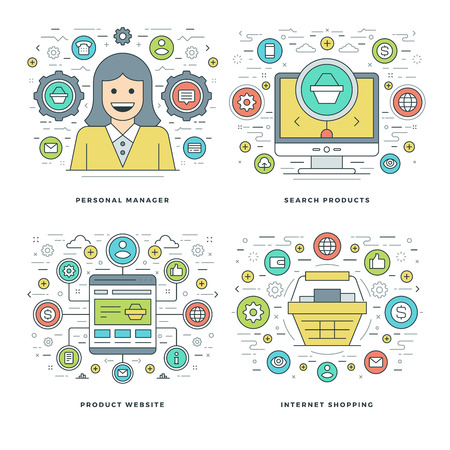 business products: Flat line Manager, Search Products, Shopping Business Concepts Set Vector illustrations. Modern thin linear stroke vector icons. Website Header Graphics, Banner, Infographics Design. Illustration