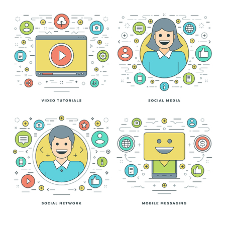 tutorials: Flat line Social Media and Network, Video Tutorials, Mobile, Business Success Concepts Set Vector illustrations. Modern thin linear stroke vector icons. Website Header Graphics, Banner, Infographics.