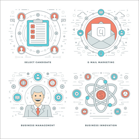 email icons: Flat line Management, Employee Search, E-mail Marketing, Business Concepts Set Vector illustrations. Modern thin linear stroke vector icons. Website Header Graphics, Banner, Infographics Design.