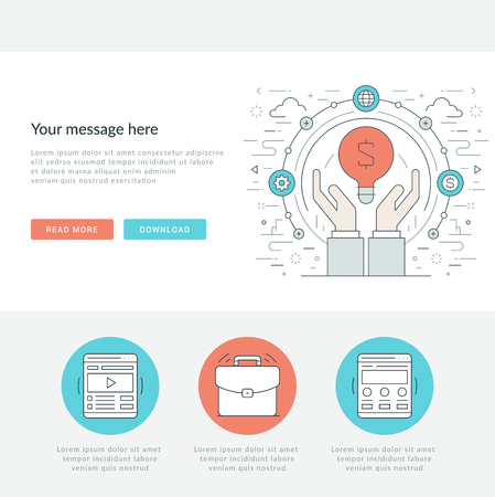 page site: Flat line Business Concept Web Site Header Vector illustration. Modern thin linear stroke vector icons. For website graphics, Mobile Apps, Web Page Layout design. Vector Icons Illustration