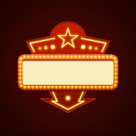 marquee sign: Retro Showtime Sign Design Cinema Signage Light Bulbs Billboard Frame and Neon Lamps on brick wall background. 1850s Signboard Style Vector Illustration.
