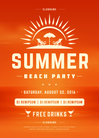 event party: Summer Holydays Beach Party Typography Poster or Flyer Design. Night Club Event or Invitaion Vector Illustration Retro Style. Illustration