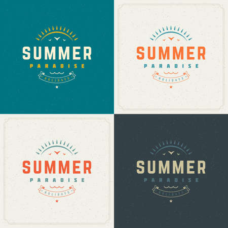 textured backdrop: Summer Holidays Retro Typography Labels or Badges Design and Vector Backgrounds for Party Posters Flyers and Greeting Cards. Textured Backdrop.