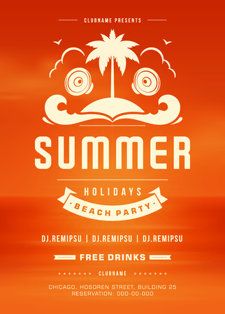 holydays: Summer Holydays Beach Party Typography Poster or Flyer Design. Night Club Event or Invitaion Vector Illustration Retro Style. Illustration