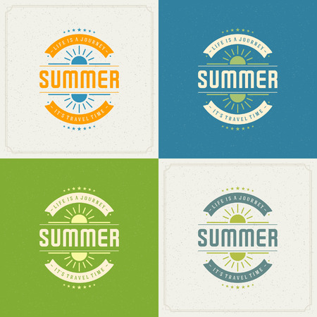 textured backgrounds: Summer Holidays Retro Typography Labels or Badges Design and Vector Backgrounds for Party Posters Flyers and Greeting Cards. Textured Backdrop.