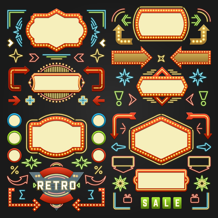 Retro American 1950s Sign Design Elements Set. Billboard Signage Light Bulbs, Frames, Arrows, Icons, Neon Lamps. For advertising, Poster Retro Sign. Vector Illustration. Vettoriali