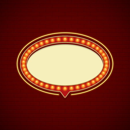 signboard design: Retro Showtime Sign Design. Cinema Signage Light Bulbs Billboard Frame and Neon Lamps on brick wall background. 1850s Signboard Style Vector Illustration. Illustration