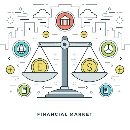 Flat line Financial Market Concept Vector illustration. Modern thin linear stroke vector icons. Website Header Graphics, Banner, Infographics Design, Promotional Materials. Vector Icons.