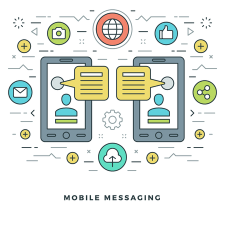 mobile website: Flat line Mobile Messaging Social Network Concept Vector illustration. Modern thin linear stroke vector icons. Website Header Graphics, Banner, Infographics Design, Promotional Materials. Vector Icons