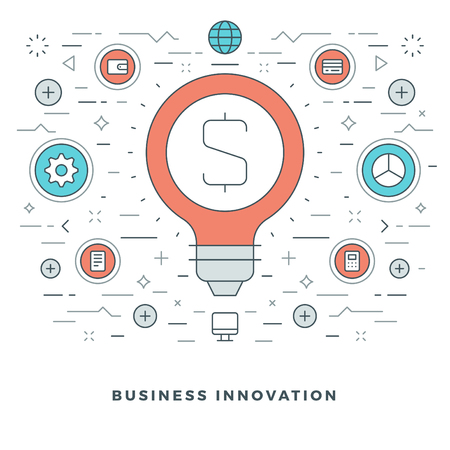 website header: Flat line Business Innovations Concept Vector illustration. Modern thin linear stroke vector icons. Website Header Graphics, Banner, Infographics Design, Promotional Materials. Vector Icons.